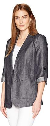 Ellen Tracy Women's Roll Sleeve Boyfriend Blazer