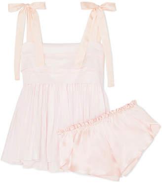 Three Graces London - Hortense Silk Voile-trimmed Cotton-voile Pajama Set - Baby pink