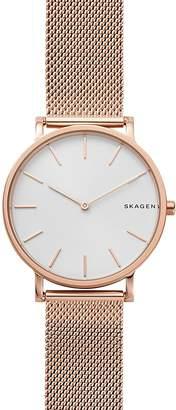 Skagen Rose Gold-Tone Mesh Bracelet Hagen Watch, 38mm