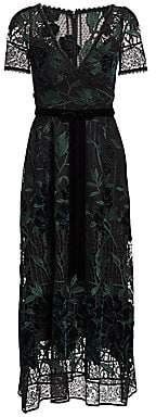 Marchesa Women's Embroidered Velvet & Lace Cocktail Dress