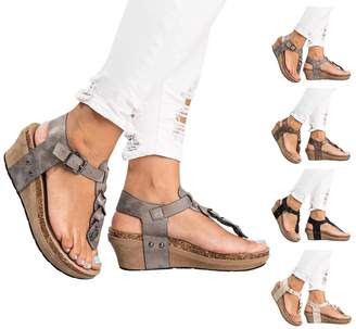 Royou Yiuoer Womens Shoes T Strap Summer Gladiator Beach Flat Wedge Heel Sandal with Buckle by US 9
