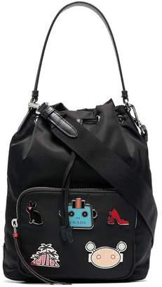 Prada Badge Appliqué Bucket Bag