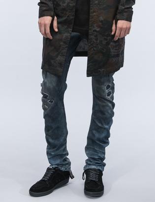 11 By Boris Bidjan Saberi Destroyed Denim Washed Jeans $604.95 thestylecure.com
