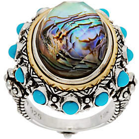 Barbara Bixby Sterling/18K Abalone Doublet &Turquoise Ring