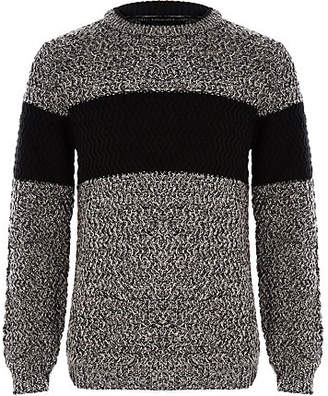 River Island Boys grey block color sweater