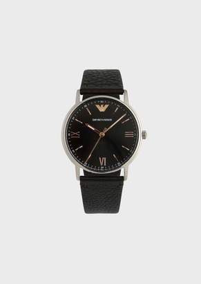 Emporio Armani Watch With Round Dial And Grainy Leather Strap