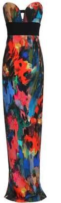 Black Halo Catania Strapless Printed Neoprene Gown