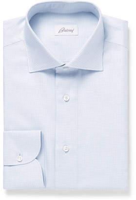Brioni Light-grey Cutaway-collar Gingham Cotton Shirt