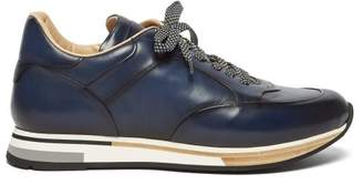 Dunhill Duke Patina Low Top Leather Trainers - Mens - Navy