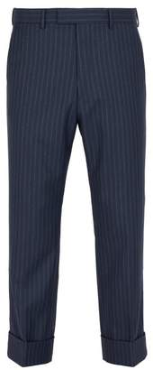 Gucci Slim Fit Striped Wool Trousers - Mens - Navy