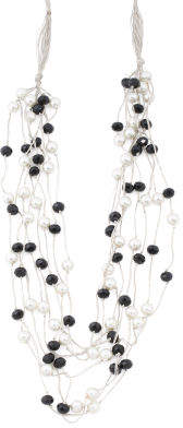 Pearl And Black Crystal Multi Row Necklace