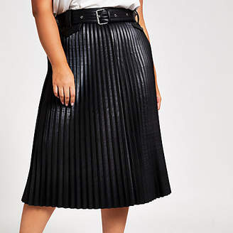 River Island Plus black faux leather pleated midi skirt