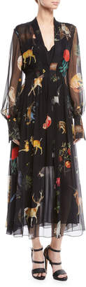 Oscar de la Renta Long-Sleeve Flora & Fauna Print Silk Maxi Dress