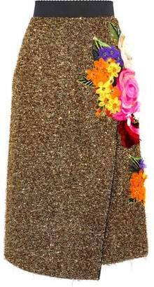 Dolce & Gabbana Wrap-Effect Floral-Appliquéd Tinsel Skirt