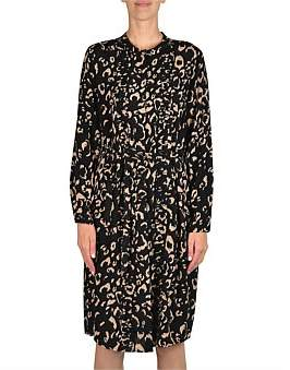 Jump Long Sleeve Printed Button Thru Dress