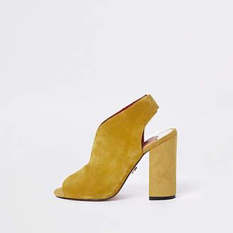 River Island Yellow suede curve vamp block heel shoe boots