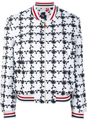 Thom Browne floral embroidered bomber jacket