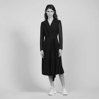 Sandro Long-sleeved dual-fabric dress