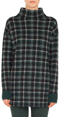 Akris Punto Turtleneck Long-Sleeve Check Cashmere-Blend Sweater