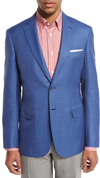 BrioniBrioni Check Two-Button Sport Coat, Light Blue/Red