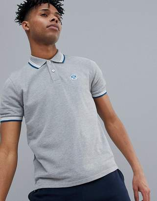 North Sails Slim Fit Polo Shirt With Tipping & Logo Collar In Gray