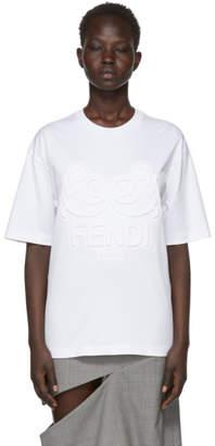 Fendi White Embossed Bow Long T-Shirt