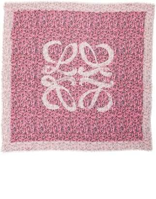 Loewe Roses Allover Logo Wool & Silk Scarf