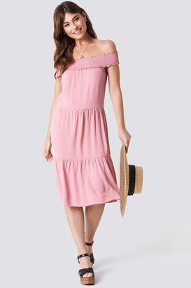 Na Kd Boho Off Shoulder Crepe Midi Dress Burgundy