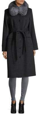 Sofia Cashmere Fox Fur-Trimmed Wrap Coat