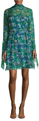 Emilio Pucci Silk Printed Mock Neck Flare Dress