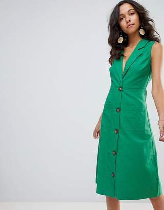 Moon River button down emerald midi dress