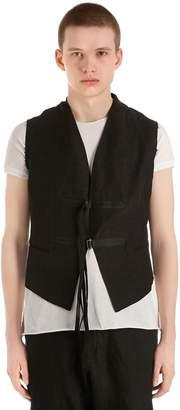 Isabel Benenato Raw Cut Linen Vest