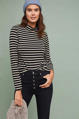 Cupcakes And Cashmere Striped Shine Turtleneck