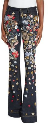 Alice + Olivia Ryley Embroidered Low-Rise Bell-Bottom Jeans $695 thestylecure.com