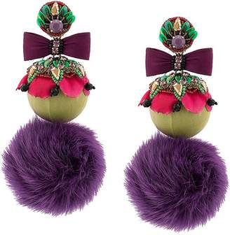 Ranjana Khan oversized fur pom pom earrings