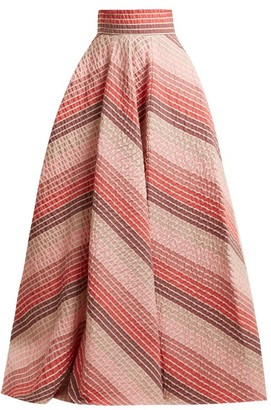 Luisa Beccaria Striped Jacquard Panelled Skirt - Womens - Pink Stripe