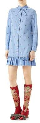 Gucci Flounce Cotton Shirtdress