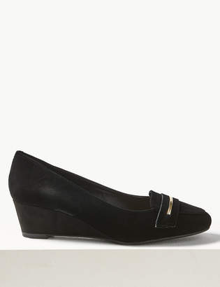 Marks and Spencer Wide Fit Suede Wedge Heel Court Shoes