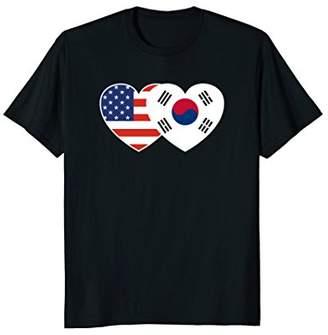 South Korea USA Flag Twin Heart T Shirt for Korean Americans
