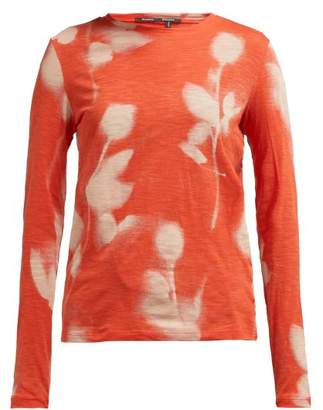 Proenza Schouler Rose Print Long Sleeved Cotton T Shirt - Womens - Orange Multi