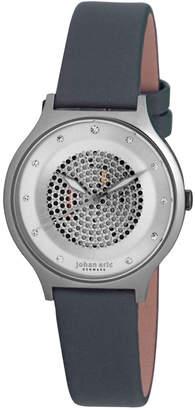 Johan Eric Orstead Quartz Swarovski Crystal Grey Satin Covered Leather Strap Watch