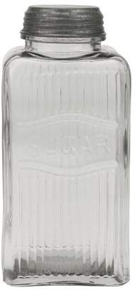 clear STONEBRIAR COLLECTION Vintage Pressed Glass Sugar Jar with Galvanized Metal Lid