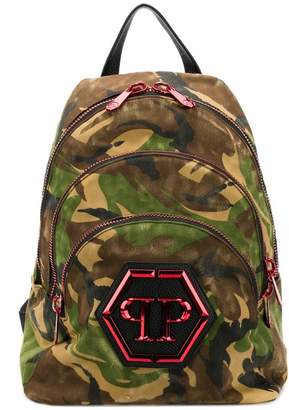 Philipp Plein camouflage triple zip backpack