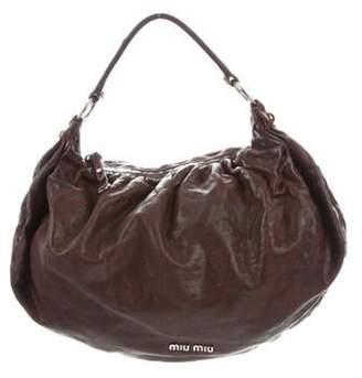 Miu Miu Leather Convertible Satchel Brown Leather Convertible Satchel