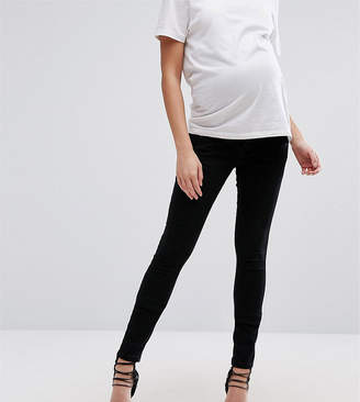 Asos (エイソス) - ASOS Maternity ASOS DESIGN Maternity Ridley skinny jeans in clean black with over the bump waistband