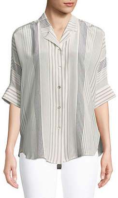 Eileen Fisher Varied Stripe Silk Blouse