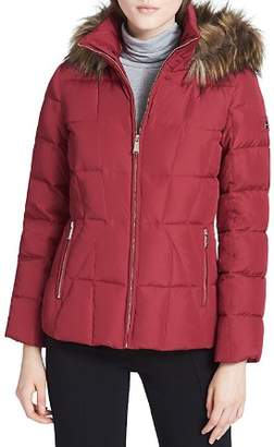 Calvin Klein Faux Fur Trim Puffer Coat