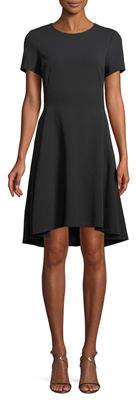Donna Karan Short-Sleeve A-Line High-Low Dress