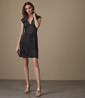 Reiss MARIANNA STRUCTURED LACE FIT AND FLARE DRESS Black