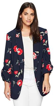 Nine West Women's Size Plus Coral Printed Crepe JKT with 3/4 Folded Button Sleeve